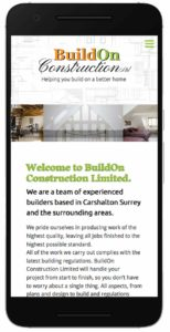 Buildon Construction website mobile