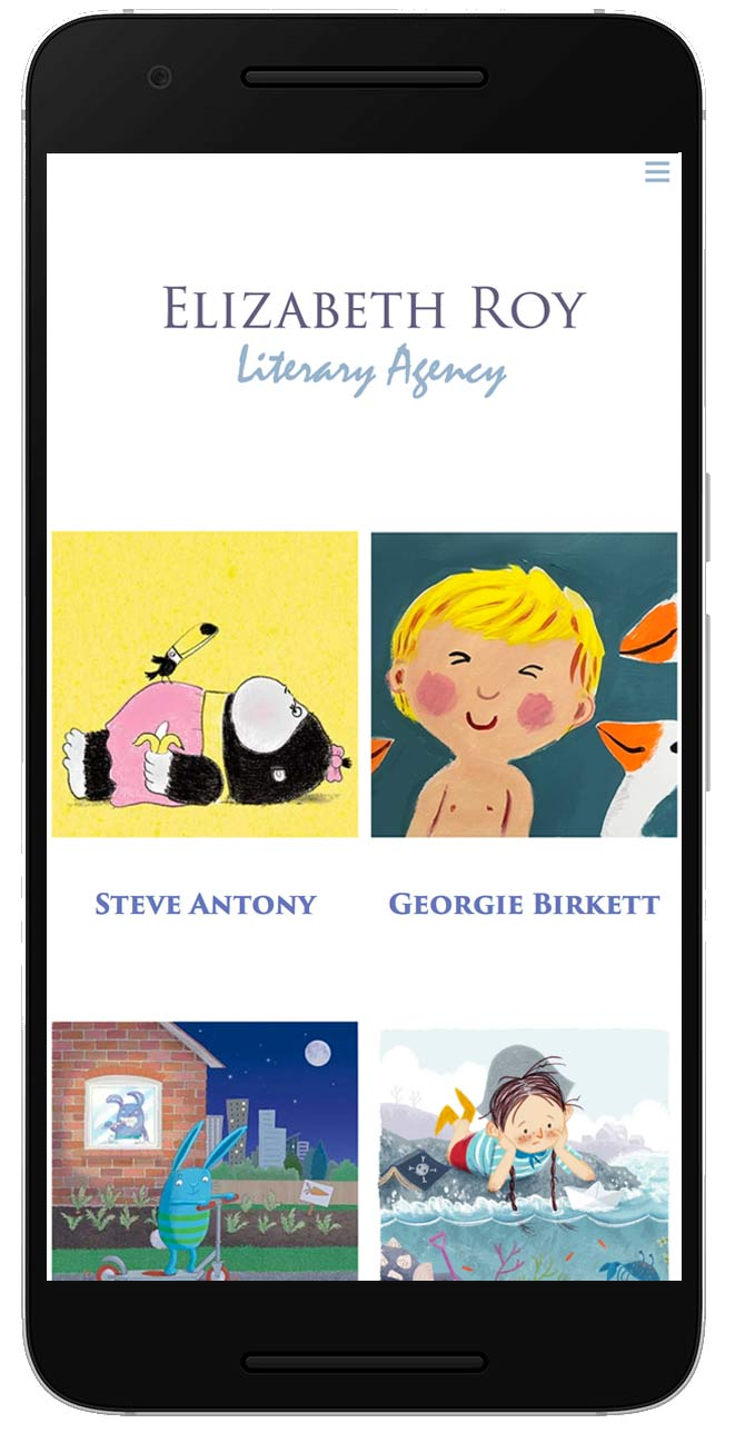 Elizabeth Roy Literary Agency website on mobile